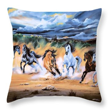 Dream Horse Series 125 - Flat Bottom River Wild Horse Herd Throw Pillow by Cheryl Poland