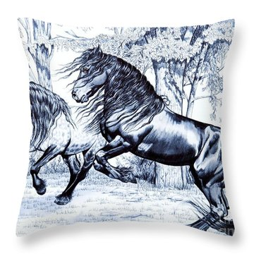 Dream Horse Series #211 - Frolick In The Back Pasture Throw Pillow by Cheryl Poland
