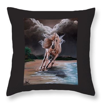 Dream Horse Series 261 - By Moon And By Sea Throw Pillow by Cheryl Poland