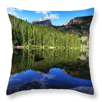 Dream Lake Rocky Mountain National Park Throw Pillow by Wayne Moran