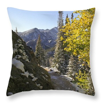 Throw Pillow featuring the photograph Dream Lake Sunrise by Arthaven Studios