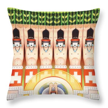 Dream Of The Maize Dancers Throw Pillow by Amy S Turner