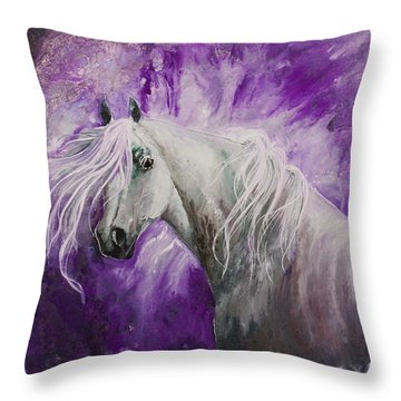 Throw Pillow featuring the painting Dream Stallion by Sherry Shipley