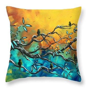 Dream Watchers Original Abstract Bird Painting Throw Pillow by Megan Duncanson