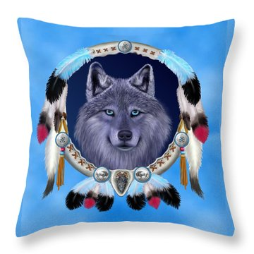 Dream Wolf Throw Pillow by Glenn Holbrook