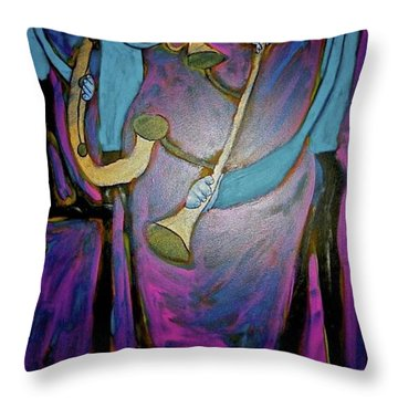 Throw Pillow featuring the painting Dreamers 00-001 by Mario Perron