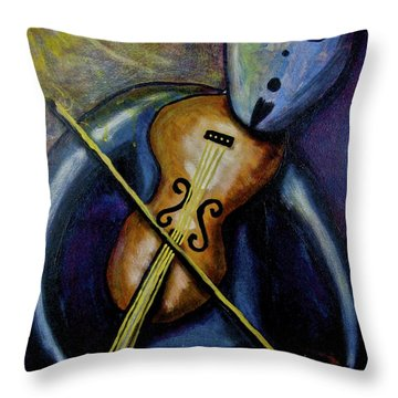Throw Pillow featuring the painting Dreamers 99-002 by Mario Perron