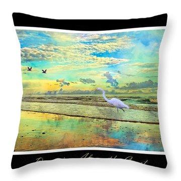 Dreaming Along The Coast -- Egret  Throw Pillow by Betsy Knapp