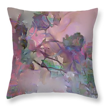 Throw Pillow featuring the digital art Dreaming Of A Rose Garden by Ursula Freer