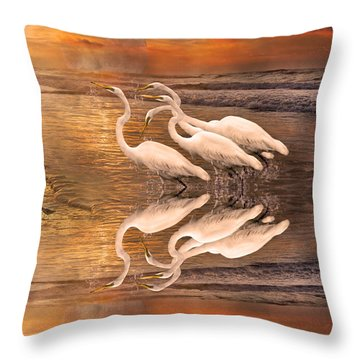 Dreaming Of Egrets By The Sea Reflection Throw Pillow by Betsy Knapp