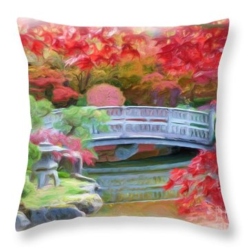 Dreaming Of Fall Bridge In Manito Park Throw Pillow by Carol Groenen
