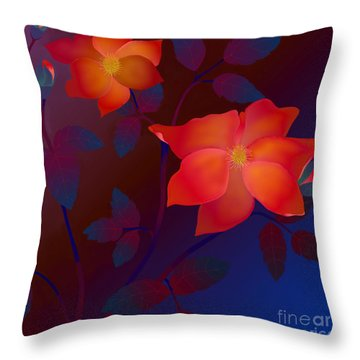 Dreaming Wild Roses Throw Pillow by Latha Gokuldas Panicker