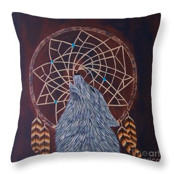 Dreaming Wolf Throw Pillow
