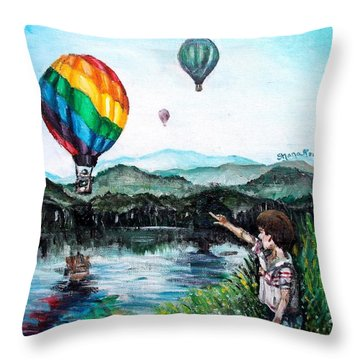Throw Pillow featuring the painting Dreams Do Come True by Shana Rowe Jackson