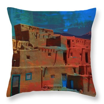 Throw Pillow featuring the mixed media Dreams Of Taos by Michelle Dallocchio