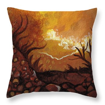 Dreamscape In Fall Tones #4 Of 4 Throw Pillow by Laura Noel