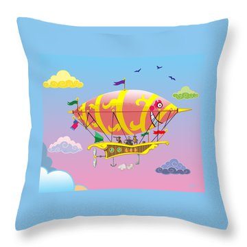 Rainbow Steampunk Dreamship Throw Pillow