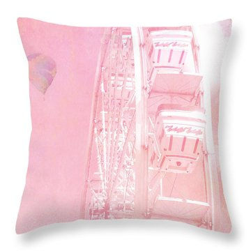 Dreamy Baby Pink Ferris Wheel Carnival Art With Hot Air Balloons Throw Pillow