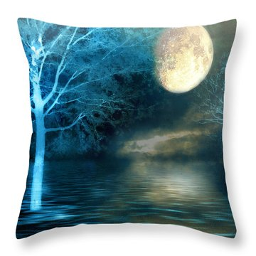 Dreamy Blue Moon Nature Trees - Surreal Full Blue Moon Nature Trees Fantasy Art Throw Pillow