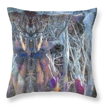 Dreamy Blue Up-dog Yoga Art Throw Pillow