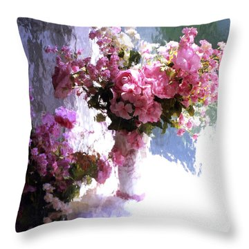 Dreamy Cottage Chic Impressionistic Flowers - Pink Roses Pink Vases Throw Pillow