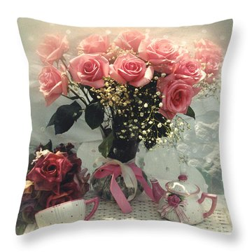 Dreamy Cottage Chic Pink Roses And Teapot  Throw Pillow