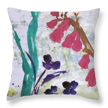 Dreamy Day Flowers Throw Pillow