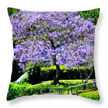 Dreamy Jacaranda On Lake Throw Pillow