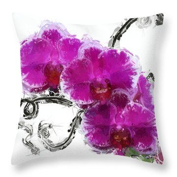 Dreamy Orchids Throw Pillow