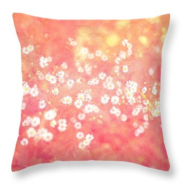Dreamy Pink Daisies Throw Pillow by Suzanne Powers