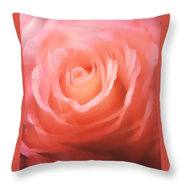 Dreamy Pink Rose Throw Pillow