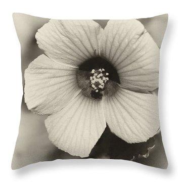 Dreamy Sepiatone Rosette Hibiscus Throw Pillow by Sabrina L Ryan