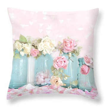 Dreamy Shabby Chic Pink White Roses  - Vintage Aqua Teal Ball Jars Romantic Floral Roses  Throw Pillow by Kathy Fornal