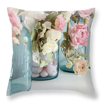 Shabby Chic Roses Blue Aqua Ball Mason Jars - Roses In Aqua Blue Mason Jars - Shabby Chic Decor Throw Pillow by Kathy Fornal