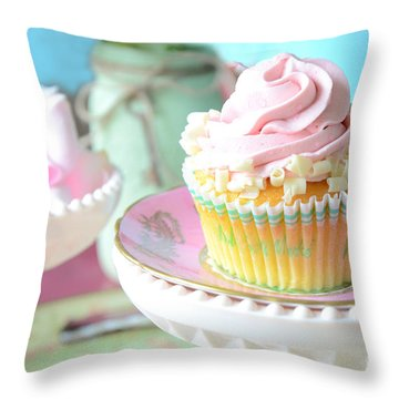 Dreamy Shabby Chic Cupcake Vintage Romantic Food And Floral Photography - Pink Teal Aqua Blue  Throw Pillow by Kathy Fornal