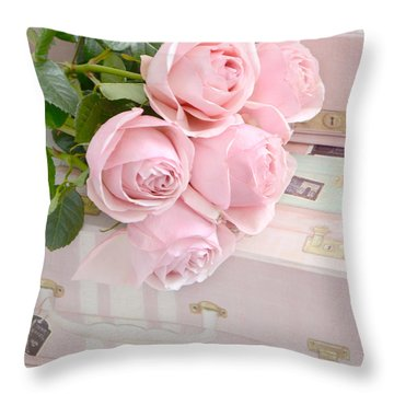 Shabby Chic Pastel Pink Roses On Pink Suitcases - Cottage Chic Romantic Cottage Pink Roses Throw Pillow