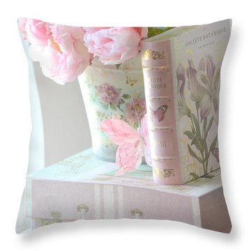 Dreamy Shabby Chic Pink Peonies And Books - Romantic Cottage Peonies Floral Art With Pink Books Throw Pillow