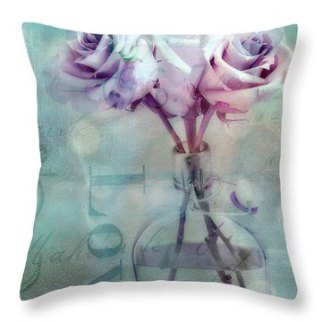 Roses Dreamy Shabby Chic Pink Roses Teal Aqua Impressionistic Cottage Pink Aqua Teal Love Roses Throw Pillow