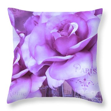 Dreamy Shabby Chic Purple Lavender Paris Roses - Dreamy Lavender Roses Cottage Floral Art Throw Pillow