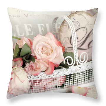 Dreamy Shabby Chic Roses In Cottage White Basket - Roses And Love Heart Throw Pillow