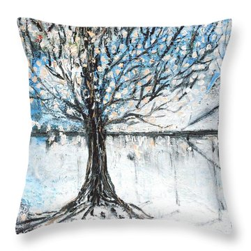 Throw Pillow featuring the painting Dreamy Spring by Evelina Popilian