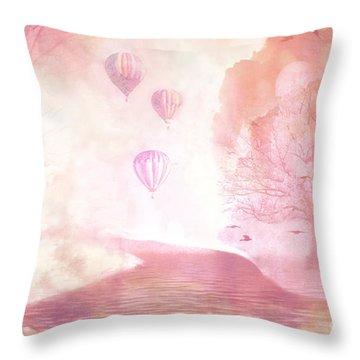Dreamy Surreal Fantasy Fairytale Pastel Hot Air Balloons Dreamland Nature Fantasy Art Throw Pillow