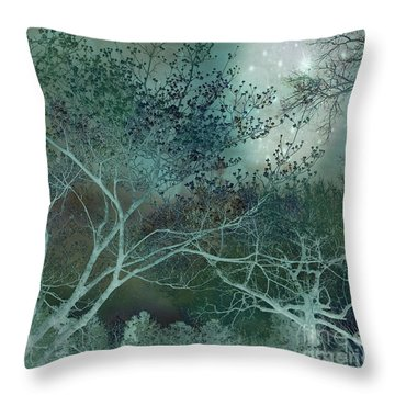 Dreamy Surreal Fantasy Teal Aqua Trees Nature  Throw Pillow by Kathy Fornal