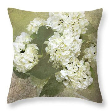 Hydrangea Floral Vintage Cottage Chic White Hydrangeas - Shabby Chic Dreamy White Floral Art  Throw Pillow