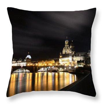 Dresden At Night Throw Pillow by Steffen Gierok
