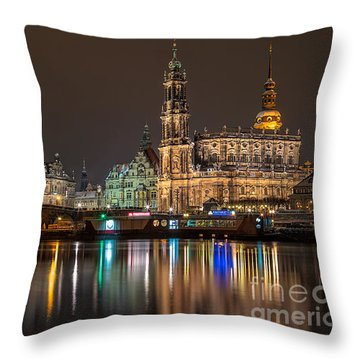 Dresden By Night Throw Pillow