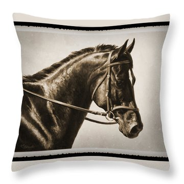 Dressage Horse Old Photo Fx Throw Pillow