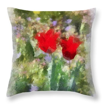 Throw Pillow featuring the painting Dressed In Red  by Kerri Farley