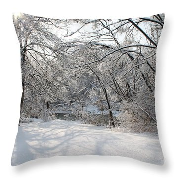 Throw Pillow featuring the photograph Dressed In Snow by Nina Silver