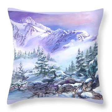 Throw Pillow featuring the painting Dressed In White Mount Shuksan by Sherry Shipley